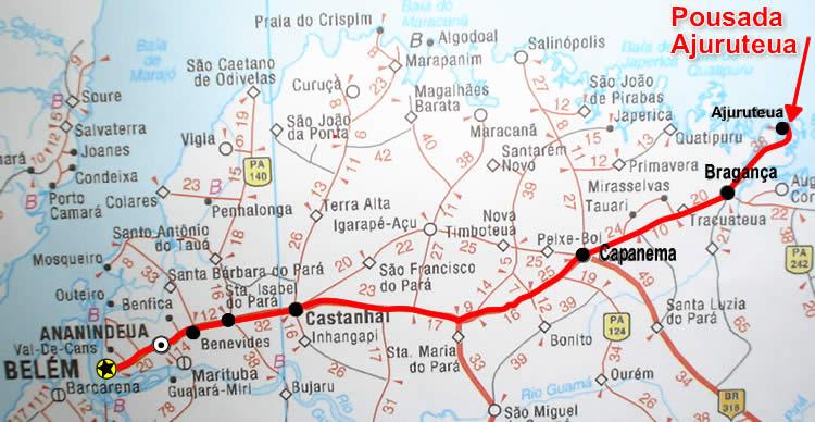 Mapa Rodoviário para Ajuruteua
